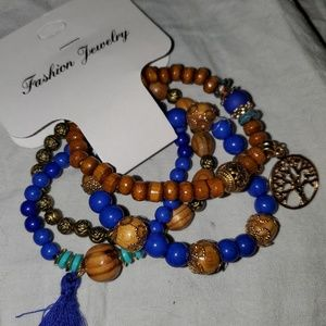 4 Blue beautiful Beaded Bracelets
